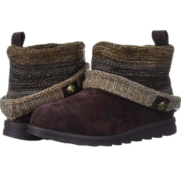 Muk Luks Dark Brown Faux Suede & Knit Patti Boots